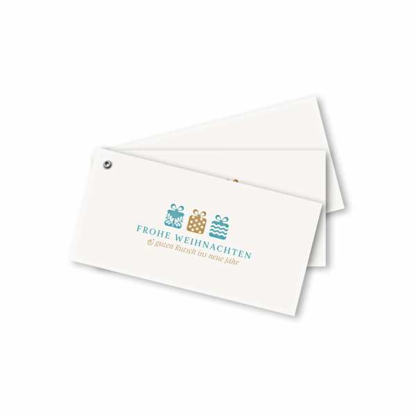 Weihnachtskarte – Fächerkarte DIN-lang Querformat im Kartendesign Weihnachtsgeschenke