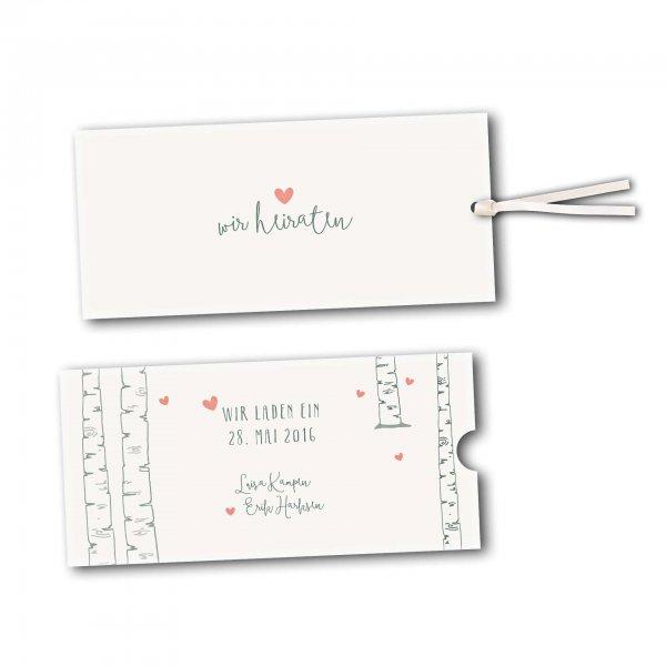 Schuberkarte - Kartendesign Verliebt unter Birken