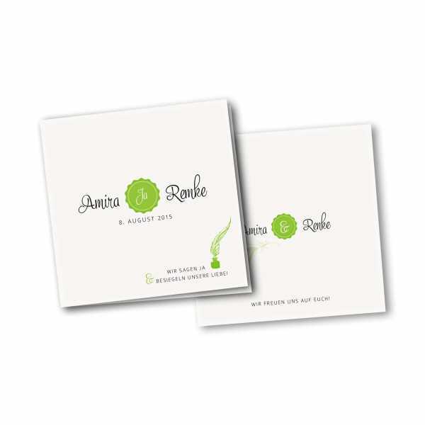 Einladungskarte – 4-Seiter quadratisch Kartendesign Die Liebe besiegeln Version 2