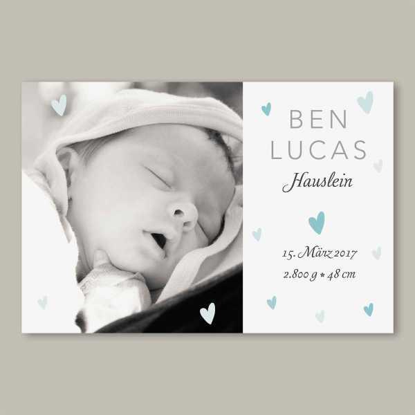 Geburtskarte – flache Karte mit Umschlag – 2-Seiter flache Karte zur Geburt in der Größe DIN-A6 Querformat mit dem Design Ben-Lucas
