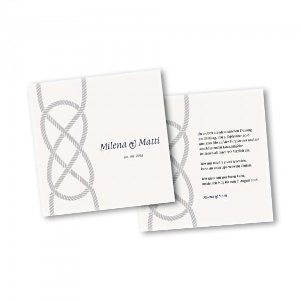Save the Date Karte – 2-Seiter quadratisch Kartendesign Kreuzknoten - maritime Hochzeitskarte