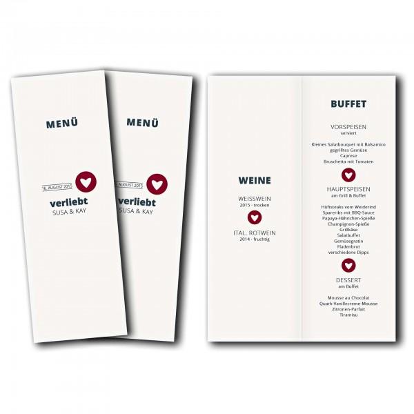 Menükarte – Kartendesign moderne Hochzeitskarte mit Herz im Kreis Version 1