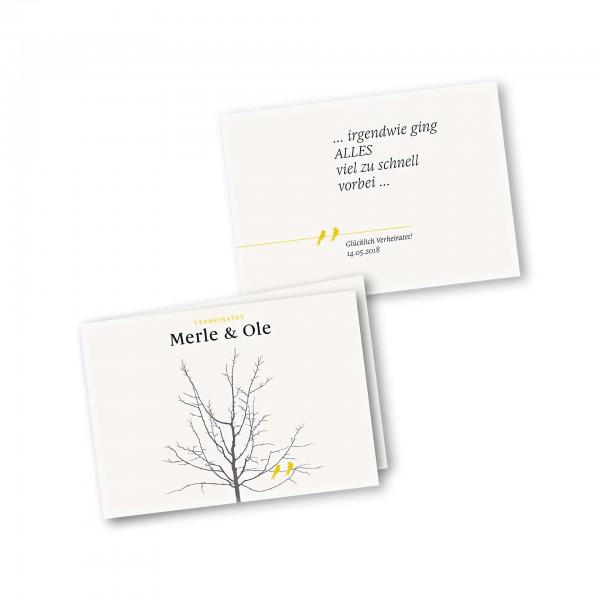 Danksagungskarte – 4-Seiter DIN-A5 Querformat Kartendesign Verliebte Vögel im Baum
