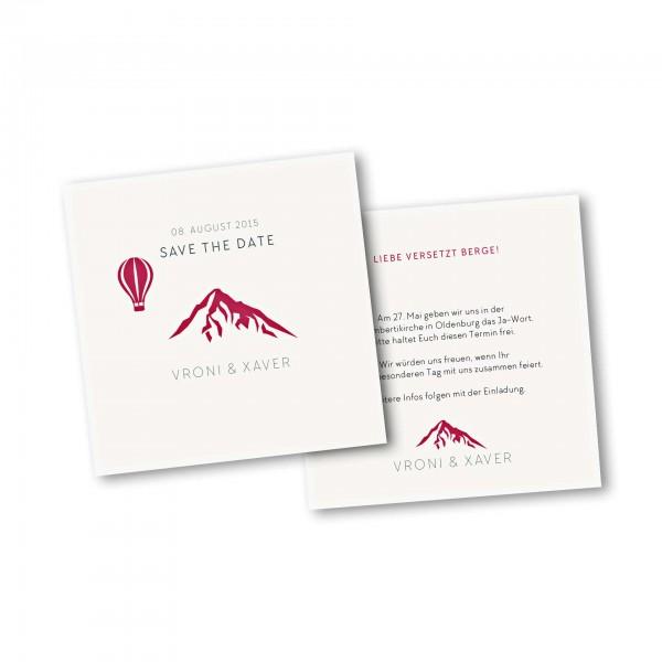 Save the Date Karte – 2-Seiter quadratisch Kartendesign Hochzeitsfeier in den Bergen Version 4