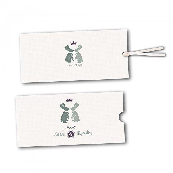 Schuberkarte - Kartendesign Zwei verliebte Hasen