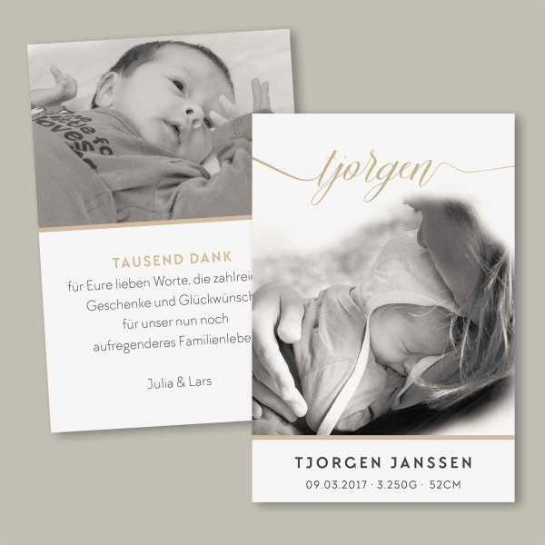 Geburtskarte flache Karte inkl. Umschlag – 2-Seiter DIN-A6 Hochformat Kartendesign Tjorgen
