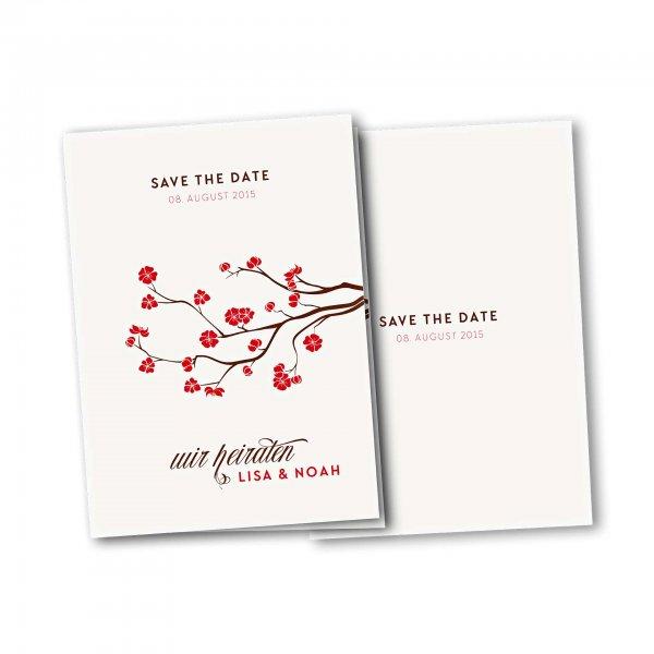 Einladungskarte – 4-Seiter DIN-A5 Kartendesign Baumblüte