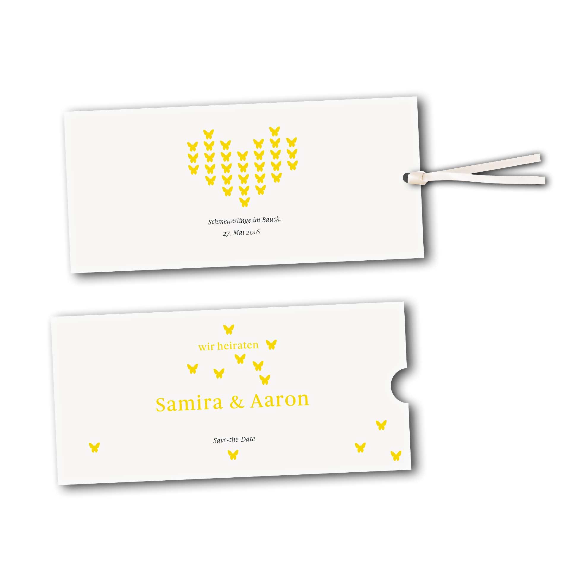 schuberkarte save the date karte design verliebte schmetterlinge zur hochzeit. Black Bedroom Furniture Sets. Home Design Ideas