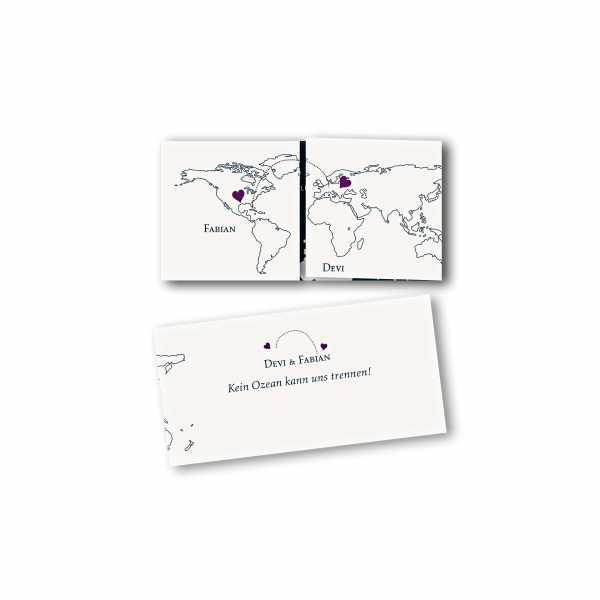 Einladungskarte – Altarfalzkarte DIN-lang im Kartendesign Herzentreffen