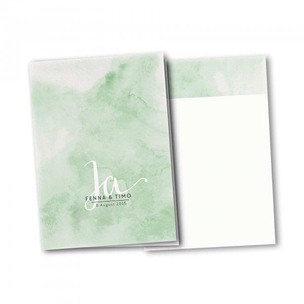 Einladungskarte – 4-Seiter DIN-A5 Kartendesign JA auf Wasserfarben