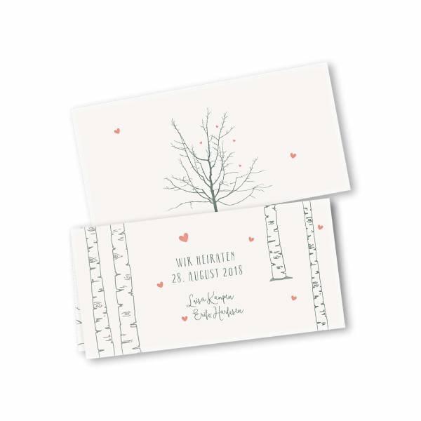Einladungskarte – 4-Seiter DIN-lang Querformat Kopffalz Kartendesign Verliebt unter Birken