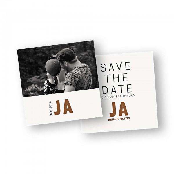Save the Date Karte – 2-Seiter flache Karte quadratisch mit dem Kartendesign JA - wir heiraten