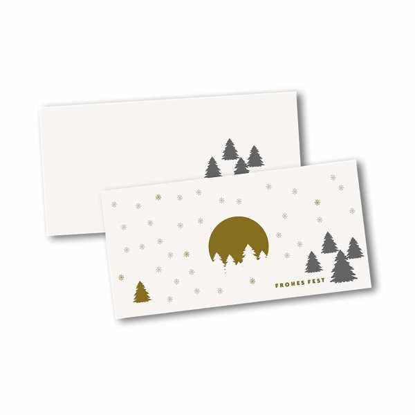 Weihnachtskarte – Klappkarte DIN-lang mit Kopffalz im Kartendesign Weihnachtsbäume im Schnee Version 2