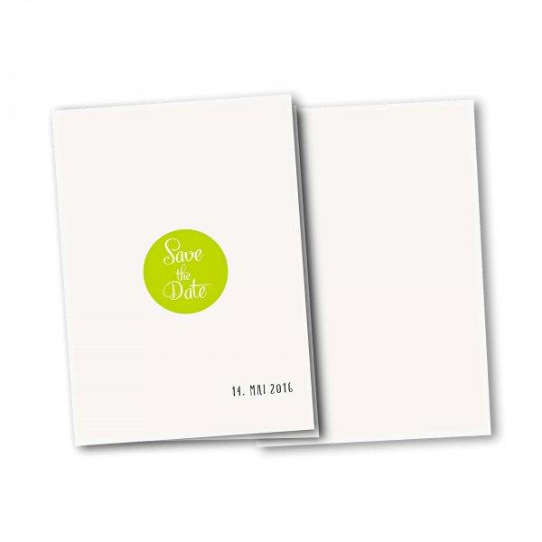 Einladungskarte – 4-Seiter DIN-A5 Kartendesign Reduzierte Hochzeitskarte mit Kreis