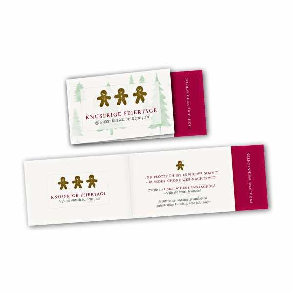 Weihnachtskarte – asymmetrische Klappkarte DIN-lang mit Rückenfalz im Kartendesign Knusprige Feiertage