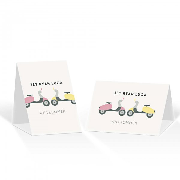 Platzkarte Aufsteller A6 – Kartendesign Motorroller zu zweit