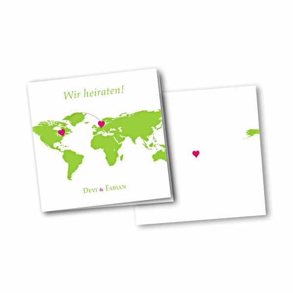 Einladungskarte – 4-Seiter quadratisch Kartendesign Herzentreffen Version 1