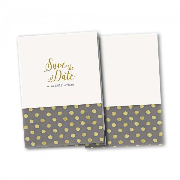Einladungskarte – 4-Seiter DIN-A5 Kartendesign Verspielte Punkte auf grau