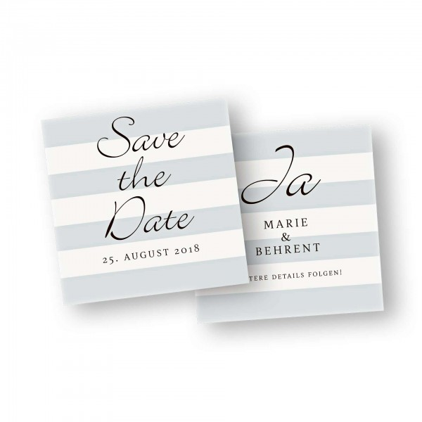 Save the Date Karte – 2-Seiter flache Karte quadratisch mit dem Kartendesign Blockstreifen