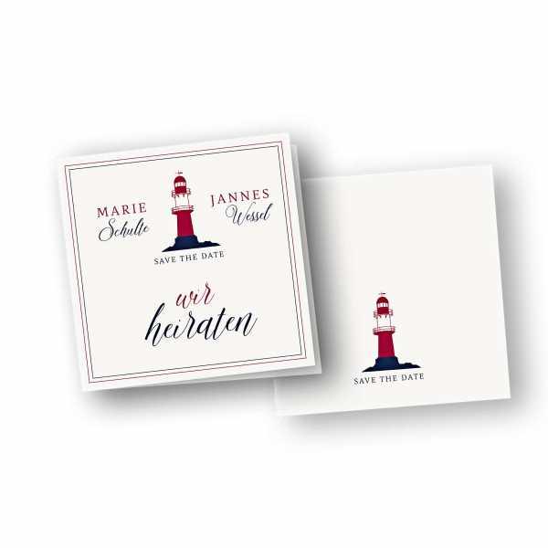 Einladungskarten – Klappkarte – quadratische Klappkarte mit Rückenfalz mit dem Design Leuchtturm Maritim