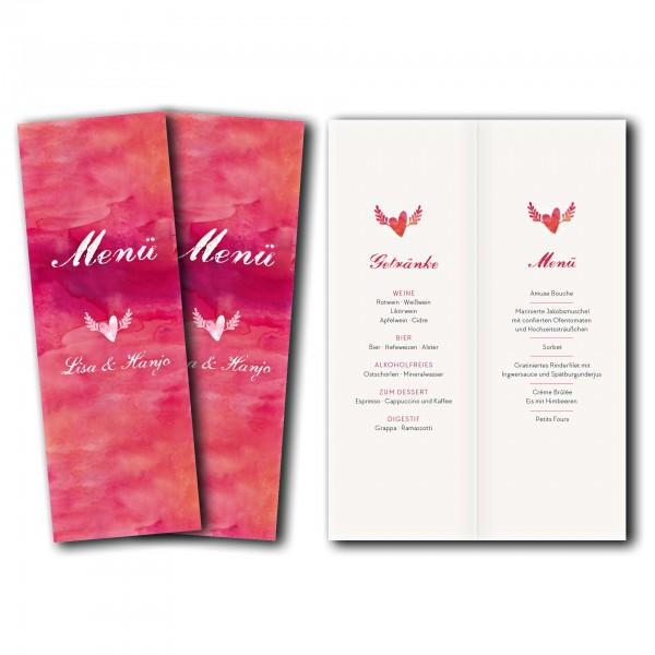 Menükarte – Kartendesign Hochzeitsherz mit Flügeln