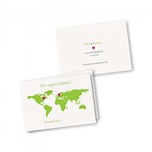 Danksagungskarte – 4-Seiter DIN-A5 Querformat Kartendesign Herzentreffen Version 1