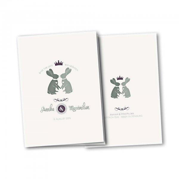 Einladungskarte – 4-Seiter DIN-A5 Kartendesign Zwei verliebte Hasen Version 2