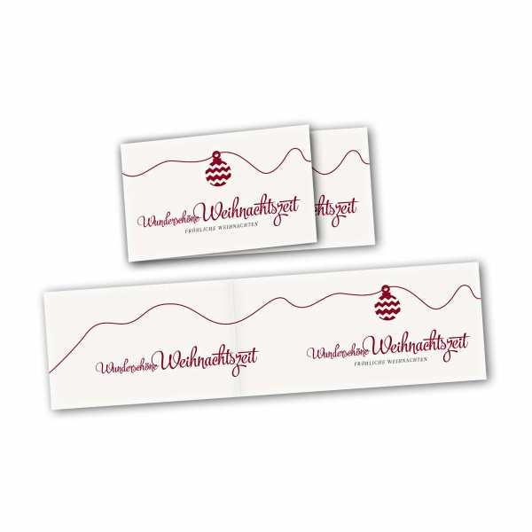 Weihnachtskarte – asymmetrische Klappkarte DIN-lang mit Rückenfalz im Kartendesign Weihnachtskugel