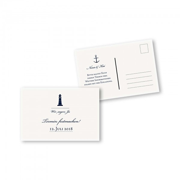 Save the Date Postkarte – 2-Seiter DIN-A6 Kartendesign Maritim