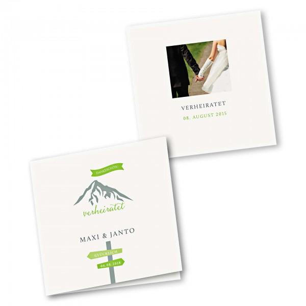 Danksagungskarte – 4-Seiter quadratisch Kartendesign Hochzeitsfeier in den Bergen