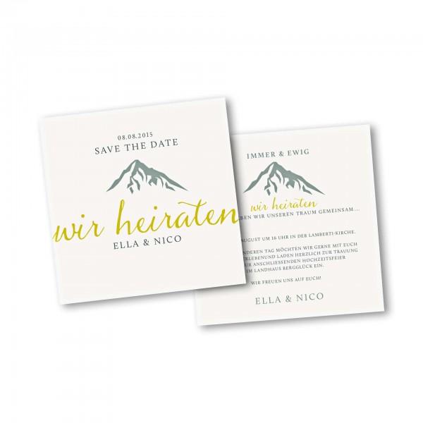 Save the Date Karte – 2-Seiter quadratisch Kartendesign Hochzeitsfeier in den Bergen Version 2