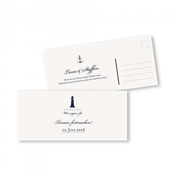 Save the Date Postkarte – 2-Seiter DIN-lang Kartendesign Maritim
