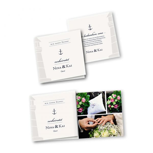 Danksagungskarte – 6-Seiter quadratisch Kartendesign Maritim