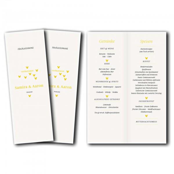 Menükarte – Kartendesign Verliebte Schmetterlinge zur Hochzeit