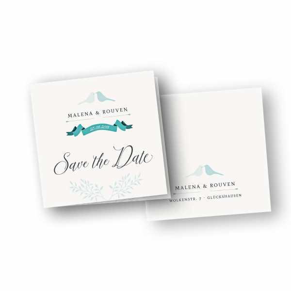 Einladungskarten – Klappkarte – quadratische Klappkarte mit Rückenfalz mit dem Design Vermählung