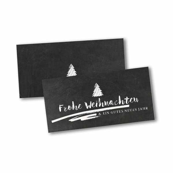 Weihnachtskarte – Klappkarte DIN-lang mit Kopffalz im Kartendesign Chalkboard mit Baum
