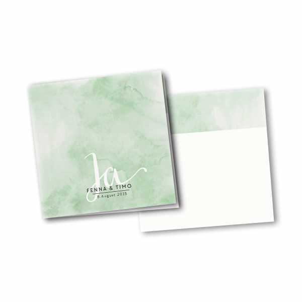 Einladungskarte – 4-Seiter quadratisch Kartendesign JA auf Wasserfarben