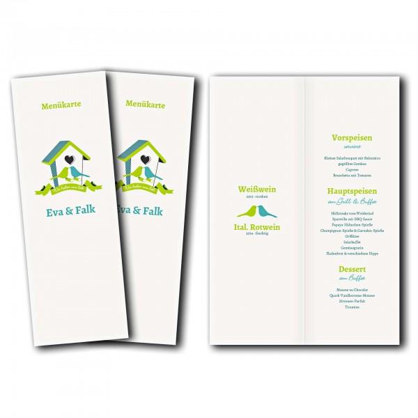 Menükarte – Kartendesign Hochzeitsgezwitscher Version 2
