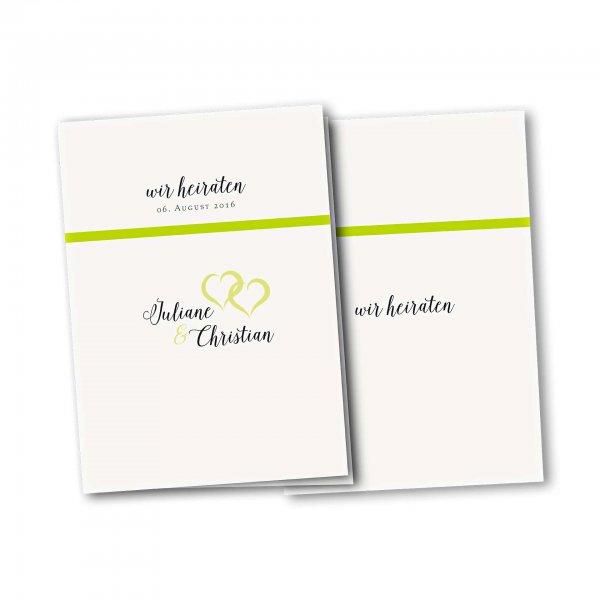 Einladungskarte – 4-Seiter DIN-A5 Kartendesign verkettete Herzen