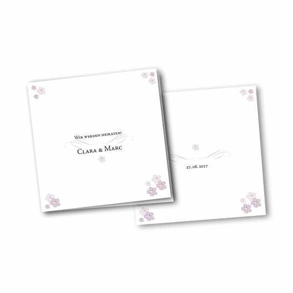 Einladungskarte – 4-Seiter quadratisch Kartendesign Blütenzauber
