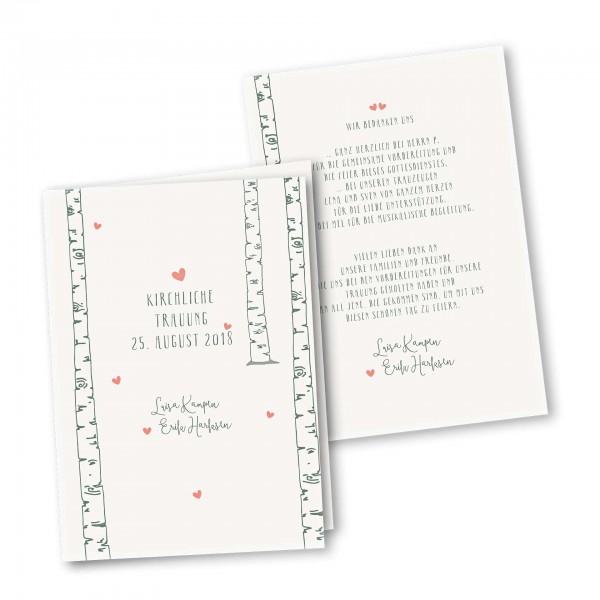 Kirchenheft 4 Seiter – Klappkarte DIN-A5 Kartendesign Verliebt unter Birken