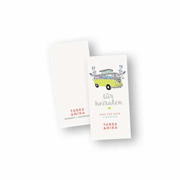 Einladungskarten – Klappkarte – DIN-lang im Hochformat mit Kopffalz mit dem Design Bulli Boho-Chic