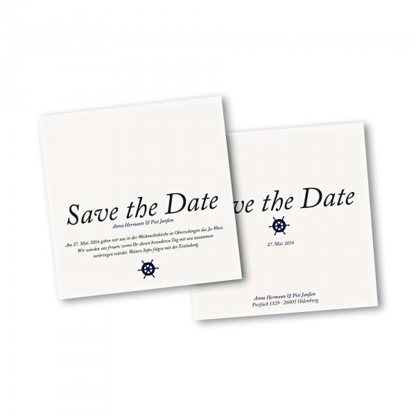 Save the Date Karte – 2-Seiter quadratisch Kartendesign Kleines Steuerrad zur Hochzeit