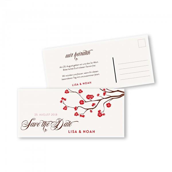 Save the Date Postkarte – 2-Seiter DIN-lang Kartendesign Baumblüte