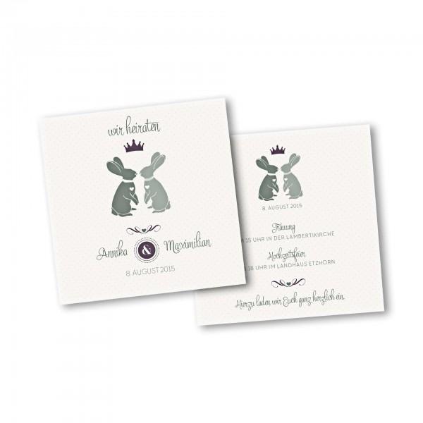 Save the Date Karte – 2-Seiter quadratisch Kartendesign Zwei verliebte Hasen