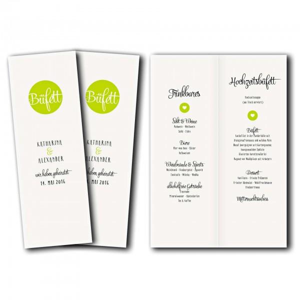 Menükarte – Kartendesign Reduzierte Hochzeitskarte mit Kreis