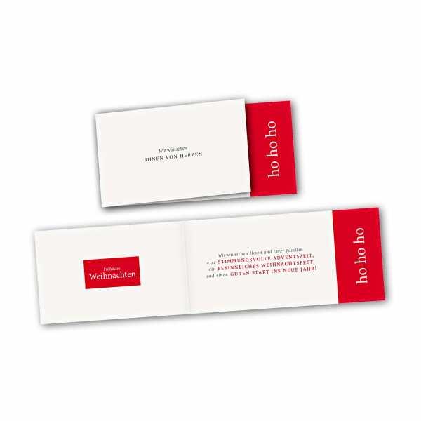 Weihnachtskarte – asymmetrische Klappkarte DIN-lang mit Rückenfalz im Kartendesign VON HERZEN HO HO HO
