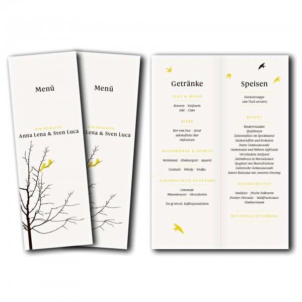 Menükarte – Kartendesign Verliebte Vögel im Baum Version 2