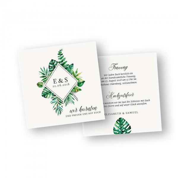 Save the Date Karte – 2-Seiter flache Karte quadratisch mit dem Kartendesign natürlich heiraten