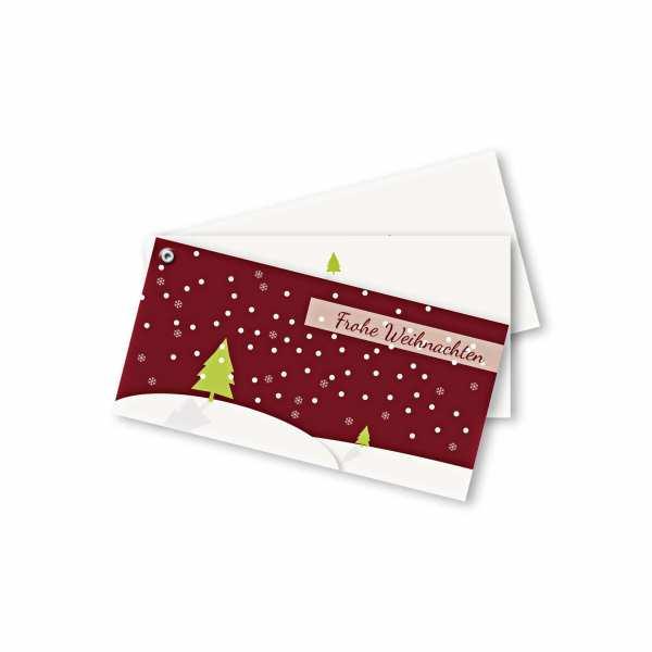 Weihnachtskarte – Fächerkarte DIN-lang Querformat im Kartendesign Schneelandschaft